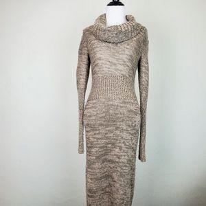 Moda International Wool Cowl Tan Sweater Dress